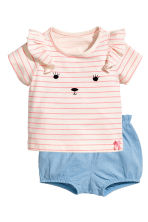 T-shirt and shorts - Powder/Striped -  | H&M CN 1